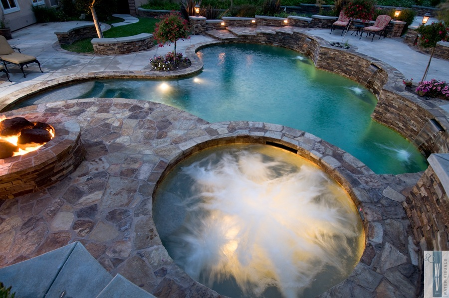 Water visuals portfolio quality custom pools for Pool and firepit design
